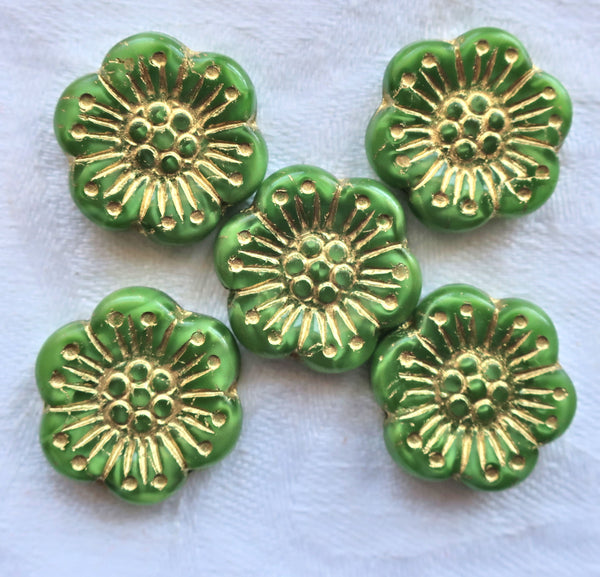 Lot of 5 large 18mm opaque light green and gold Czech pressed glass flower beads 13101 - Glorious Glass Beads