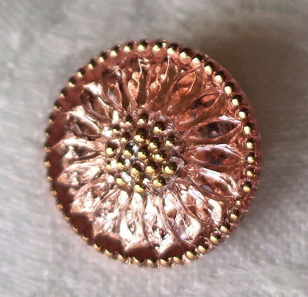 One 18mm Czech glass button, pink sunflower with gold accents, floral decorative shank button 52201