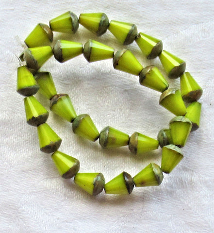 Lot of 15 8 x 6mm Czech glass teardrop beads - opaque silky lime green picasso - special cut, faceted, firepolished beads C05101