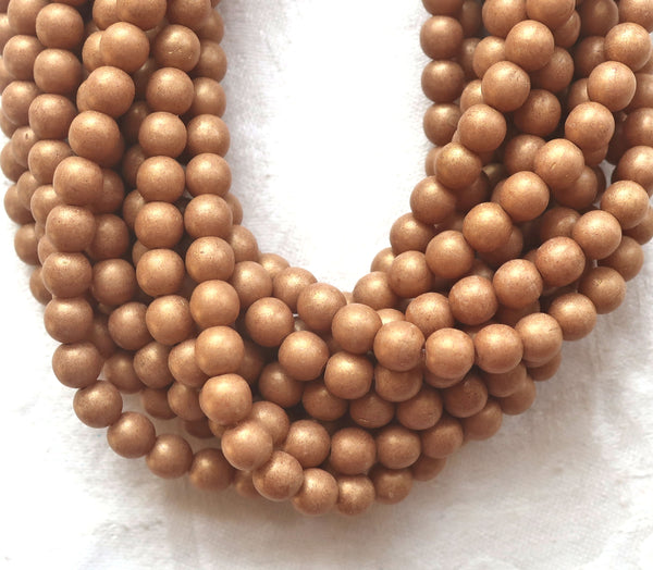 Lot of 50 6mm Czech glass druks, opaque beige, light brown, Pacifica Macadamia smooth round druk beads 03150