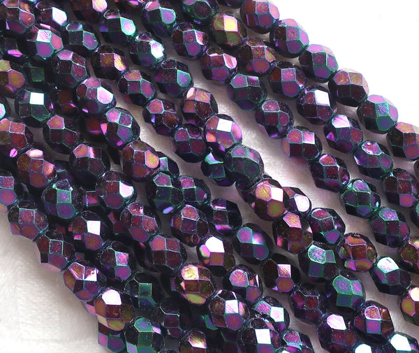 Lot of 25 6mm Purple Iris Czech glass beads, firepolished, faceted round beads C1501