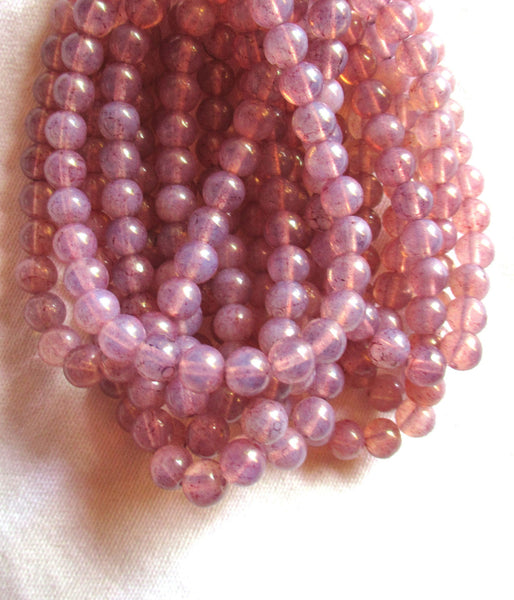 lot of 30 6mm Czech glass beads - milky pink dusty rose druks - smooth round druk beads