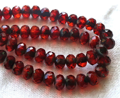 30 small puffy rondelle beads, transparent garnet red & orange mix picasso, 3mm x 5mm faceted Czech glass rondelles 51101 - Glorious Glass Beads