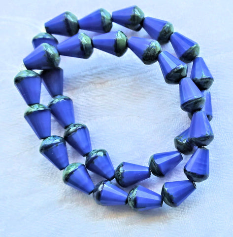 Lot of 15 8 x 6mm Czech glass teardrop beads - opaque royal blue silk w/ black accents - special cut, faceted, firepolished beads C05101 - Glorious Glass Beads