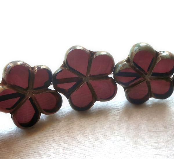 Lot of five 17mm Czech glass flower beads, table cut, carved, transparent amethyst, purple picasso flowers C05105