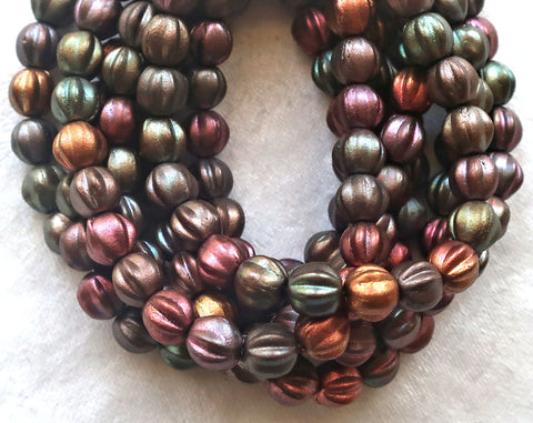 25 Czech 6mm glass melon beads, matte metallic mix beads, earthy, rustic mix. pressed beads C0801 - Glorious Glass Beads