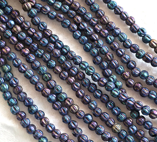 Lot of 100 3mm Czech glass melon beads, Blue Iris pressed glass beads C11850