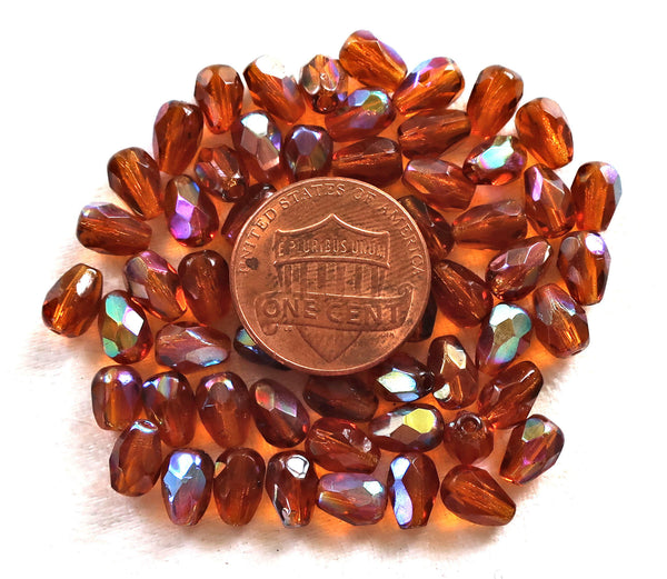 Lot of 25 7 x 5mm Maderia Topaz AB, Brown teardrop beads, faceted, firepolished tear drops C3701 - Glorious Glass Beads