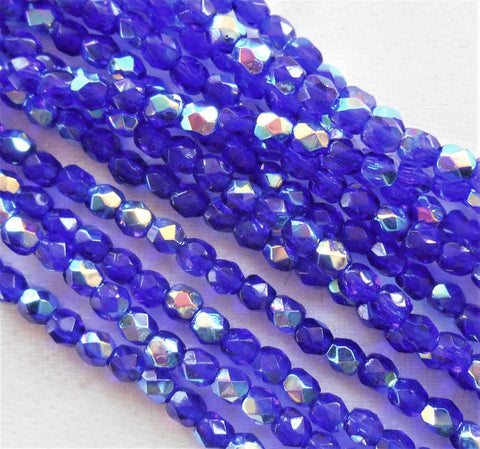 50 3mm Czech Cobalt Blue AB Czech glass beads, firepolished faceted round beads C7450