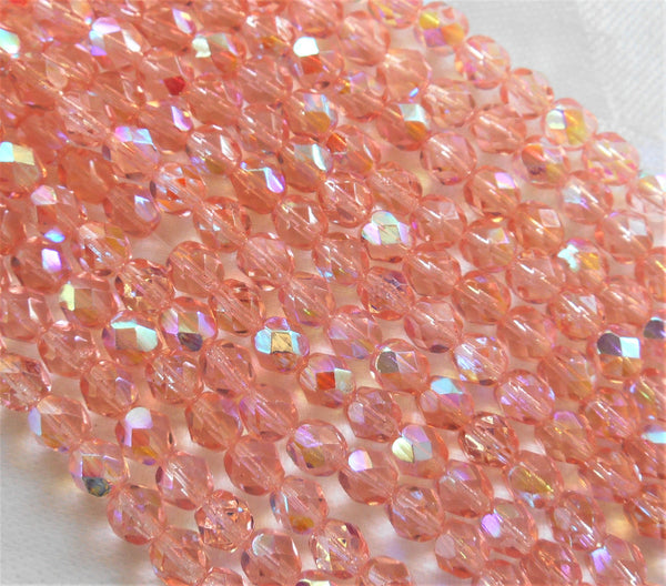 Lot of 25 6mm Rosaline Pink AB beads, faceted round firepolished Czech glass beads 3625