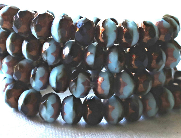 25 Czech glass puffy rondelle beads, 6 x 9mm, opaque brown & blue color mix faceted rondelles, bronze picasso finish C52325