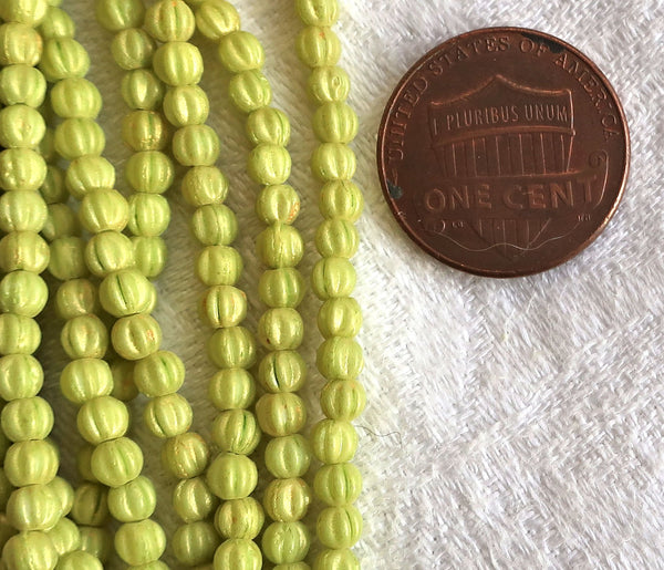 Lot of 100 3mm Czech glass melon beads - Pacifica Honeydew bright chartreuse green pressed glass beads C05150