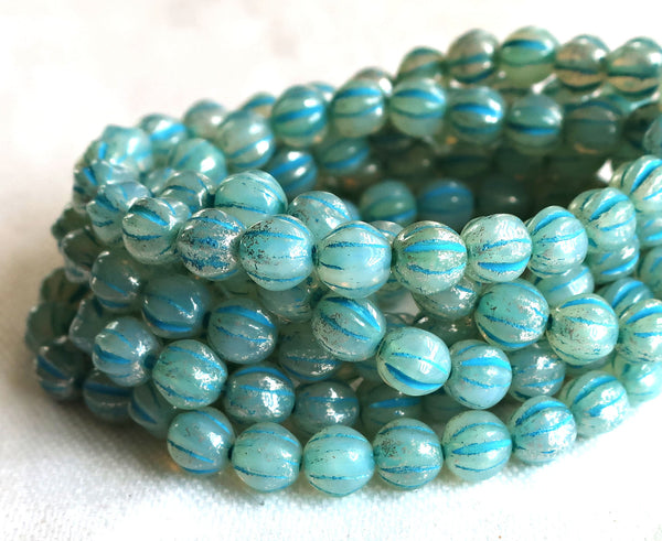 25 Striped aqua blue mercury melon beads, 6mm pressed Czech glass beads C0901 - Glorious Glass Beads