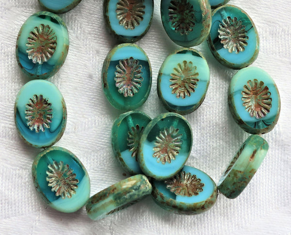 Ten 14 x 12mm flat oval Czech glass kiwi beads, opaque and transparent turquoise blue green picasso table cut, carved front & back C19101 - Glorious Glass Beads