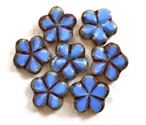 Lot of five 17mm table cut, carved,opaque, denim blue & picasso Czech glass flower beads C53105