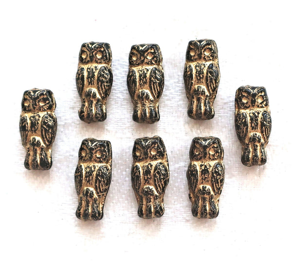 Lot of 10 small Czech glass owl beads, opaque black with a gold wash, two sided earring beads, 15mm x 7mm 5401 - Glorious Glass Beads