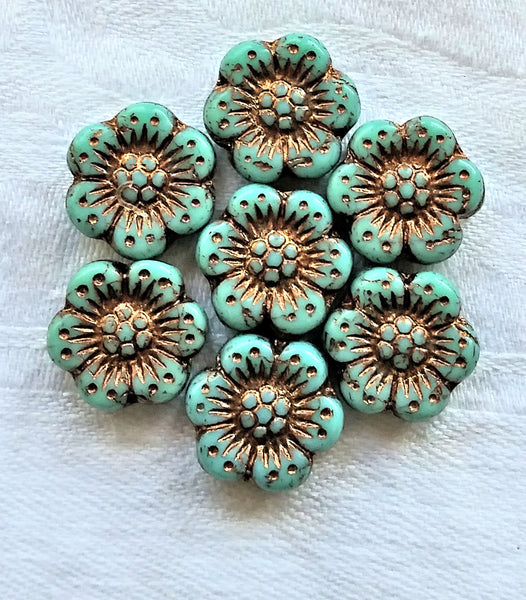Twelve Czech glass wild rose flower beads - 14mm opaque turquoise green floral beads with a bronze wash C07105 - Glorious Glass Beads