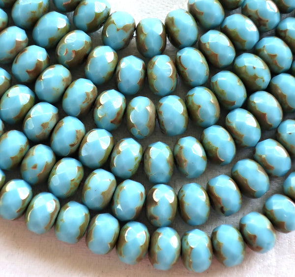 25 6 x 9mm Czech Turquoise Blue Picasso Faceted Puffy Rondelle Beads, blue Czech glass beads C28125