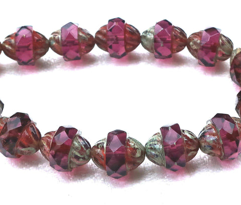 Six purple Czech glass turbine beads, 11 x 10mm transparent amethyst picasso beads 80101