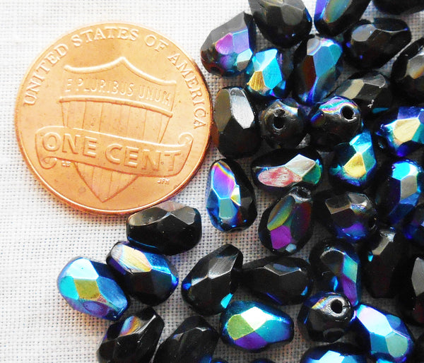 Lot of 25 7 x 5mm Jet Black AB teardrop Czech glass beads, faceted firepolished beads C9601