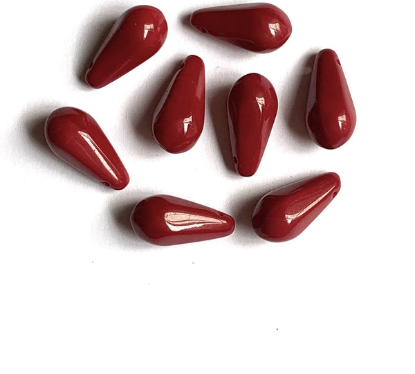 Ten large Czech glass teardrop beads - 9 x 18mm opaque blood red side drilled pressed glass faceted drops six sides C401