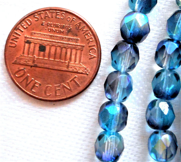 Lot of 25 6mm Aqua Blue Hematite mirror Czech glass bead mix, firepolished faceted round beads C0601 - Glorious Glass Beads