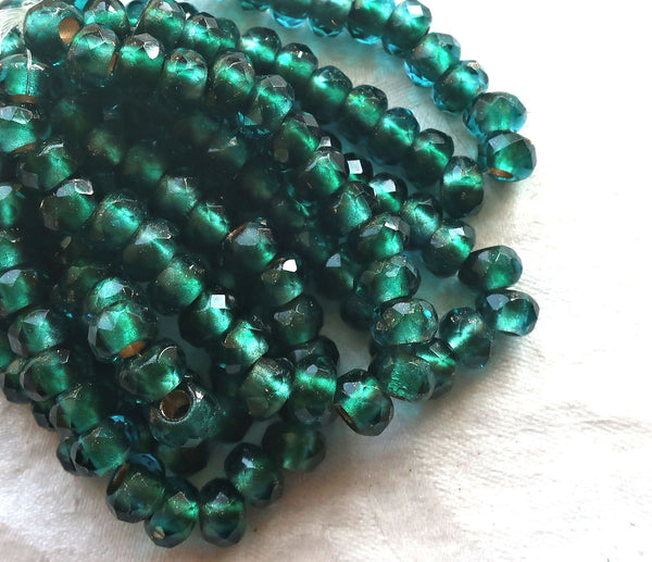 Ten Czech glass roller beads, 9 x 6mm viridian, teal or emerald gold lined, faceted round rondelle beads, big 3mm hole, large holes C08110 - Glorious Glass Beads