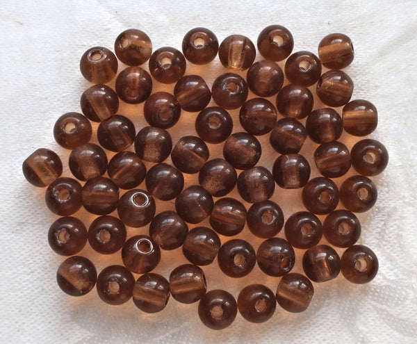 Lot of 25 8mm Czech glass big hole druk beads, smokey topaz, Brown, smooth round druksb f with 2mm holes C7201