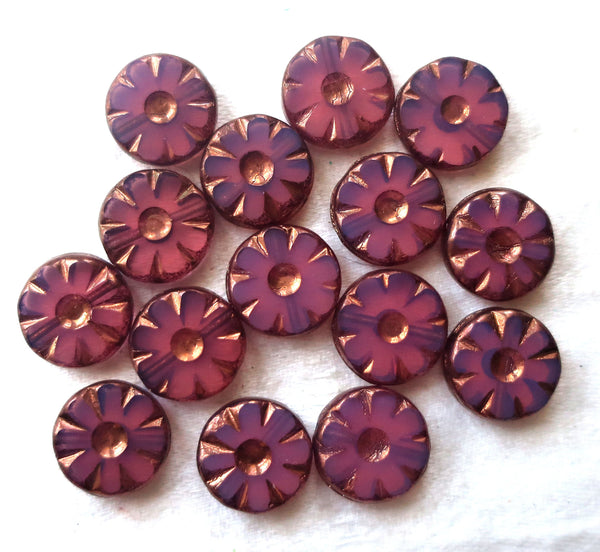 15 Czech glass flower, wheel, disc or coin beads, table cut, pink opaline w/ bronze accents, daisy beads,12mm x 4mm, C82101 - Glorious Glass Beads