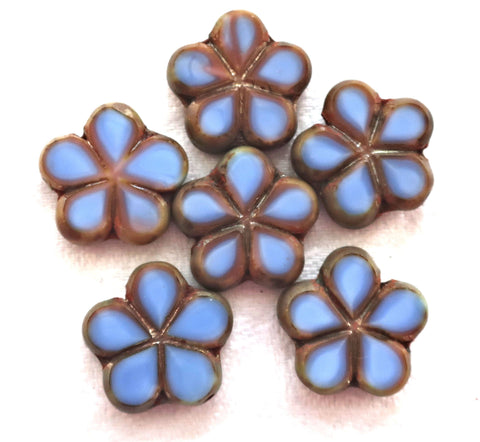 Lot of five 17mm table cut, carved,opaque, denim blue with pink / brown picasso accents, Czech glass flower beads C53105 - Glorious Glass Beads