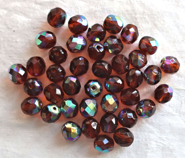 Lot of 25 8mm Czech glass beads, dark brown., Madeira Topaz, AB, faceted round firepolished glass beads C1625