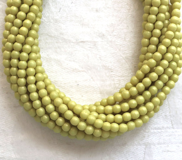 Lot of 100 3mm opaque light green Czech glass druks, Honeydew Pacifica smooth round druk beads C0701