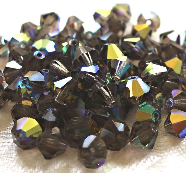 Lot of 24 6mm Black Diamond AB bicones, Czech Preciosa pressed glass bicone beads C50101 - Glorious Glass Beads
