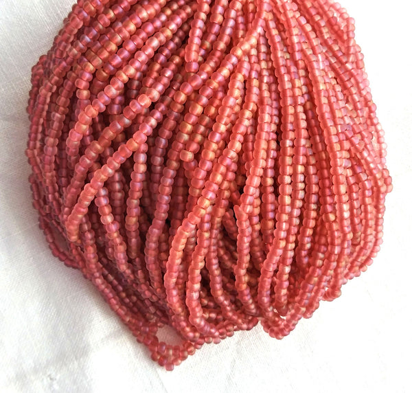 24 grams Czech glass seed beads - 6/0 matte deep rose pink AB Preciosa Rocaille seed beads - C0077