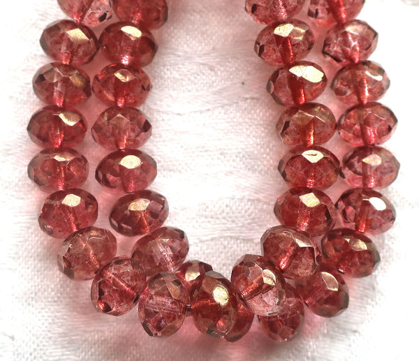 Lot of 25 Czech glass puffy rondelles, 6 x 8mm transparent pink luster faceted rondelle beads, 00301