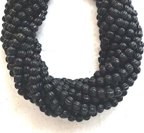 Lot of 100 3mm Matte Jet Black melon beads, Czech pressed glass spacer beads C21101
