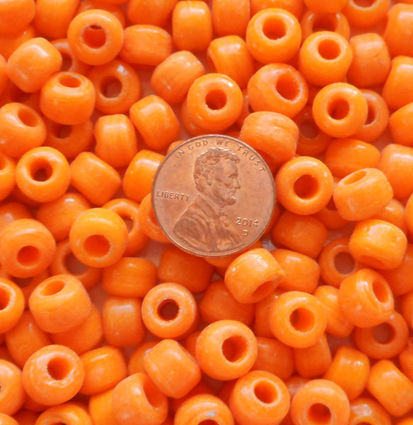 25 9mm Opaque Bright Orange glass pony roller beads, large hole, big hole crow beads, Made in India, C3501