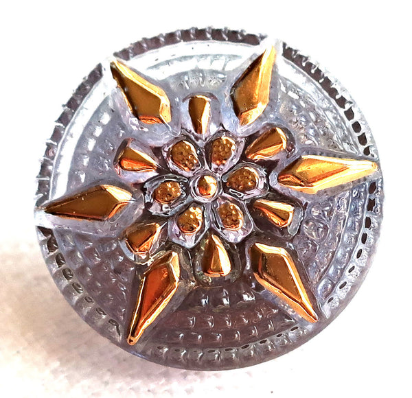 One 18mm Czech glass button, with a gold raised star, alexandrite, lavender decorative shank button 89101