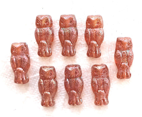 Lot of 10 small Czech glass owl beads, apricot orange luster iridescent, two sided earring beads, 15mm x 7mm 0801