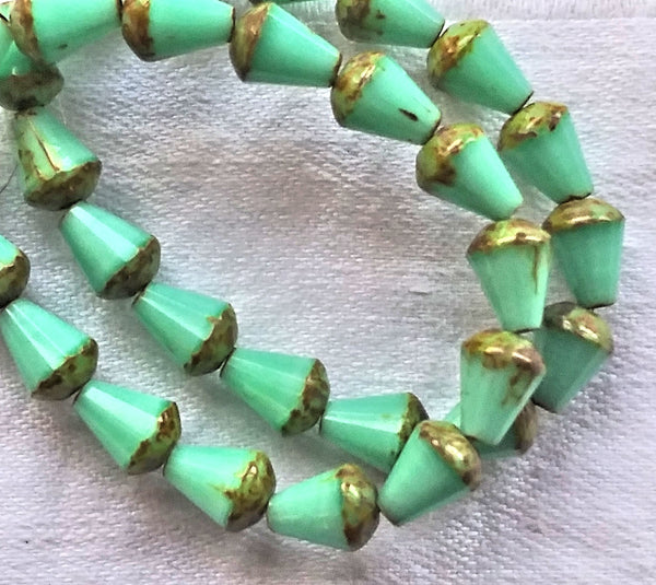 Lot of 15 8 x 6mm Czech glass teardrop beads - opaque silky mint green picasso - special cut, faceted, firepolished beads C05101