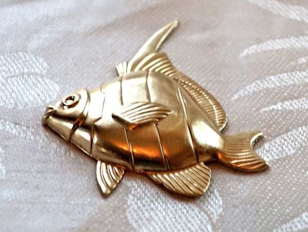 1 Angel Fish raw brass stamping, stylized 1950s retro fish, ornament, pendant, charm, component 54mm x 45mm, made in the USA 4801 - Glorious Glass Beads
