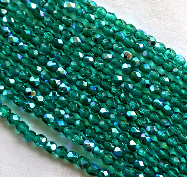Lot of 50 3mm Emerald Green AB Czech glass beads, faceted, round, firepolished beads C7401