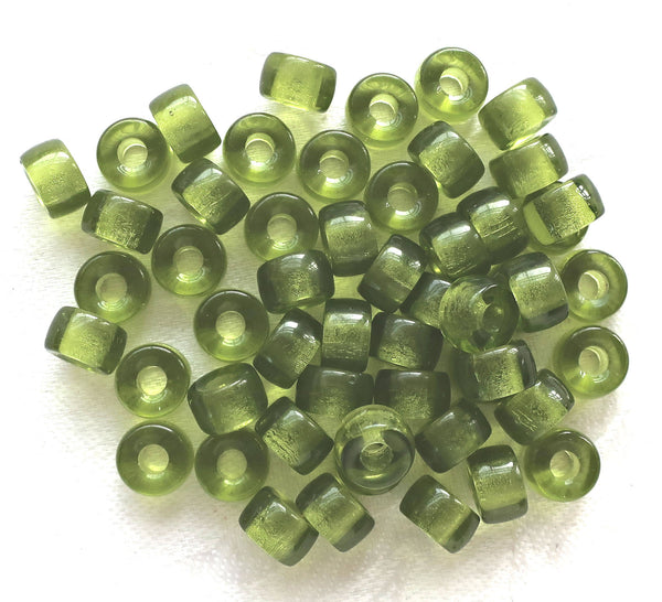 Lot of 25 9mm Green Olivine Czech glass pony or roller beads, large hole crow beads, C0401