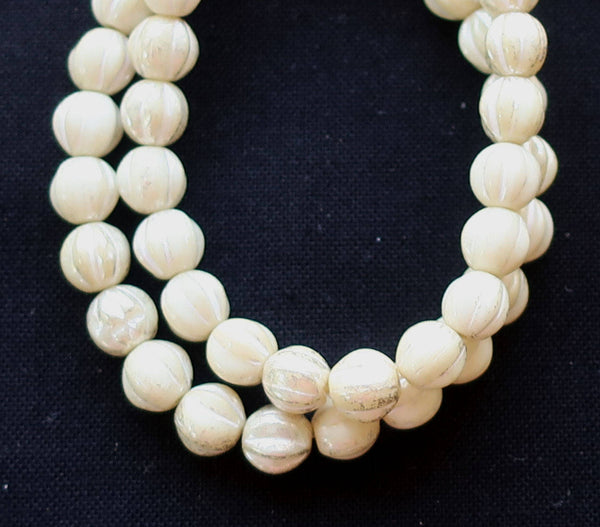 25 opaque white, ivory mercury melon beads, 6mm pressed Czech glass beads with a white luster finish C0801