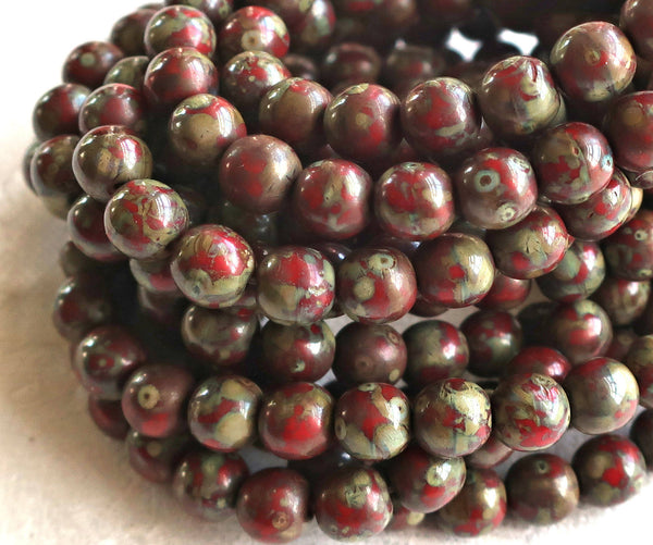 25 6mm Czech glass red picasso druk beads, earth tones , opaque red beads with a full picasso coat, smooth round druks C0725 - Glorious Glass Beads