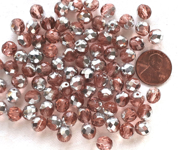 Lot of 25 8mm Pink & Silver Czech glass beads, faceted round firepolished beads C9625 - Glorious Glass Beads