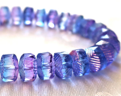 Lot of 6 Czech glass faceted wavy rondelle beads, large 14 x 6mm blue & purple chunky rondelles, focal beads C05101