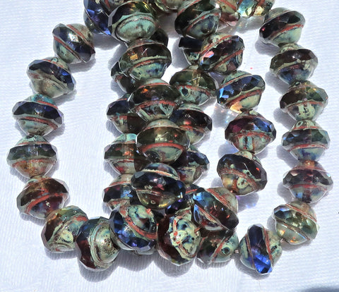 Ten Czech glass saturn / saucer beads - 11 x 10mm blue, purple / amethyst & green mix with a picasso finish C53101