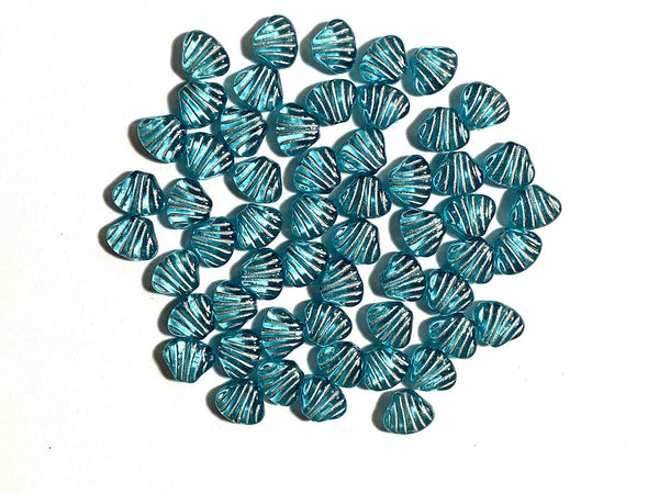 Twenty 8mm seashell, fan or clam beads - transparent aqua blue with silver accents - C0098