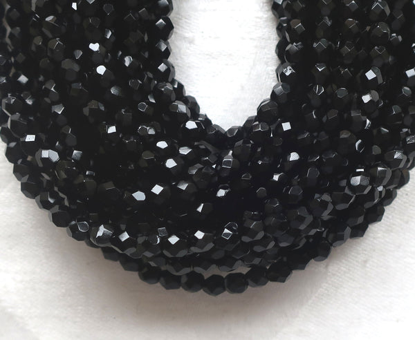 Lot of 50 4mm Jet Black Czech glass beads, round faceted firepolished beads, C3450 - Glorious Glass Beads
